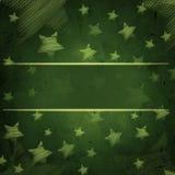 Fondo verde astratto con le stelle e lo spazio del testo illustrazione vettoriale