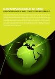 Fondo verde astratto con un globo e un'incandescenza Immagine Stock