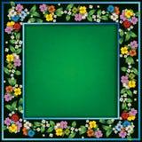 Fondo verde astratto di lerciume con i fiori della molla Fotografia Stock Libera da Diritti