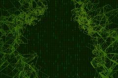 Fondo verde astratto di tecnologia Codice macchina binario Illustrazione astratta Fotografia Stock