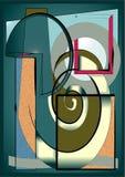 Fondo verde astratto, forme geometriche e curve operate Fotografia Stock