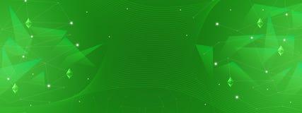 Fondo verde astratto per finanza, affare, cryptocurrency, blockchain, ethereum, reti illustrazione vettoriale