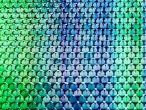 fondo verde blu di pendenza del pezzo dell'acciaio inossidabile Fotografia Stock
