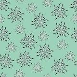 Fondo verde chiaro floreale dei colori stilizzati o dei fiocchi di neve di contorno illustrazione vettoriale