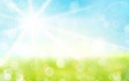 Fondo verde claro, azul de la primavera con brillo del sol y li borroso ilustración del vector