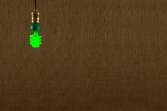 Fondo verde colgante del bulbo de CFL Foto de archivo