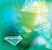 Fondo verde con cortar linear de los diamantes Imagen de archivo