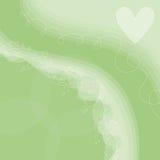Fondo verde con el corazón y las dimensiones de una variable blancos Fotos de archivo libres de regalías