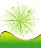 Fondo verde con gotas del ADN de los rayos Imagenes de archivo