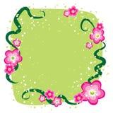 Fondo verde con i fiori rosa Fotografie Stock Libere da Diritti