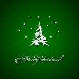 Fondo verde con l'albero di Natale Immagini Stock