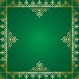 Fondo verde con l'ornamento dorato Illustrazione Vettoriale
