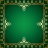 Fondo verde di vettore con l'ornamento vittoriano dorato Royalty Illustrazione gratis