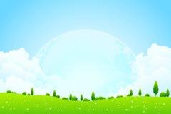 Fondo verde con la luna en el cielo ilustración del vector