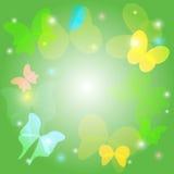 Fondo verde con le farfalle trasparenti Illustrazione Vettoriale