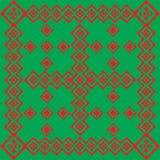 Fondo verde con un modello rosso Fotografia Stock Libera da Diritti