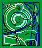 Fondo verde cuadrado abstracto, círculo colorido de lujo y formas curvadas 17 -260 Fotografía de archivo