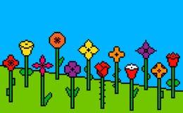 Fondo verde de la hierba del pixel con las flores stock de ilustración