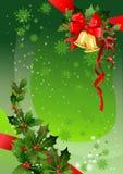 Fondo verde de la Navidad con acebo Imagen de archivo libre de regalías