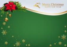 Fondo verde de la Navidad con las decoraciones de oro stock de ilustración