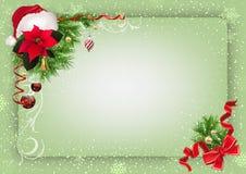Fondo verde de la Navidad con las decoraciones y la nieve ilustración del vector