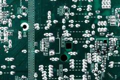 Fondo verde de la placa de circuito de la placa madre del ordenador foto de archivo