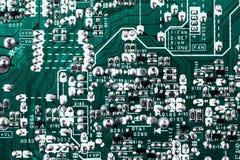 Fondo verde de la placa de circuito de la placa madre del ordenador fotos de archivo libres de regalías