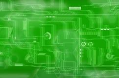 Fondo verde de la tecnología Fotografía de archivo