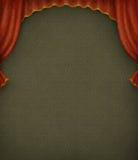 Fondo verde de la vendimia con las cortinas rojas. Fotos de archivo