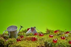Fondo verde de las tarjetas del día de San Valentín del bosque imagen de archivo libre de regalías