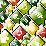 Fondo verde de los iconos de los apps del ambiente Imagen de archivo