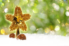 Fondo verde del bokeh di Natale Fotografia Stock