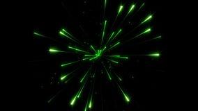 Fondo verde del concepto de la partícula del fuego artificial metrajes