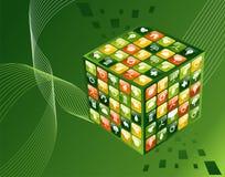 Fondo verde del cubo de los apps del ambiente stock de ilustración
