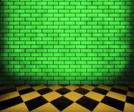 Fondo verde del interior del ladrillo del tablero de ajedrez Foto de archivo libre de regalías