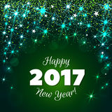 Fondo verde del nuovo anno 2017 di saluto Immagini Stock Libere da Diritti