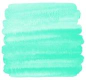 Fondo verde dell'acquerello della menta, colpo quadrato della spazzola Fotografia Stock Libera da Diritti