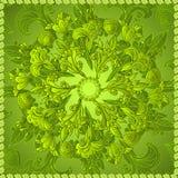 Fondo verde dell'ornamento floreale Immagine Stock