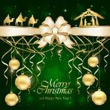 Fondo verde di Natale con la scena cristiana Immagine Stock
