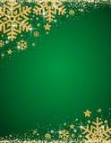 Fondo verde di natale con la struttura dello snowfla brillante dell'oro illustrazione di stock