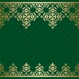 Fondo verde di vettore con orname d'annata dorato Royalty Illustrazione gratis