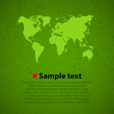 Fondo verde di vettore della mappa di mondo Immagini Stock