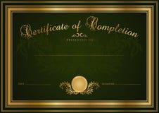 Fondo verde diploma/del certificato (modello) Fotografie Stock