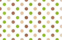 Fondo verde e beige di marrone dell'acquerello, del pois Fotografie Stock