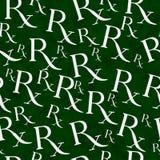 Fondo verde e bianco di ripetizione del modello di simbolo di prescrizione Immagini Stock Libere da Diritti