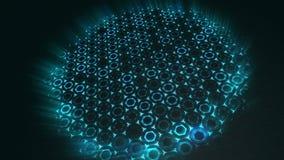 Fondo verde futurista del extracto geométrico con hexágonos con los rayos ligeros libre illustration