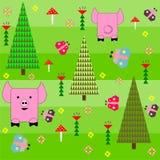 Fondo verde inconsútil con un modelo de divertido Imágenes de archivo libres de regalías