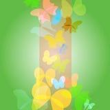 Fondo verde intenso con le farfalle - vettore Illustrazione Vettoriale