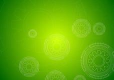 Fondo verde intenso di ciao-tecnologia con gli ingranaggi Immagine Stock