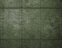 Fondo verde militare del metallo con i ribattini Fotografia Stock